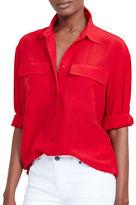 Lauren Ralph Lauren Silk Crepe Button-Up Shirt