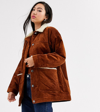Monki cord jacket with borg collar in brown-Black