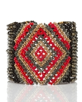 Josefina de Alba Beaded Geometry Cuff, Red