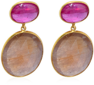 Bahina Ruby Sapphire 18K Yellow Gold Earrings