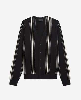 The Kooples Black cotton cardigan with white stripes