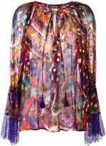 Roberto Cavalli abstract print sheer blouse - women - Silk/Polyester/Viscose - 42