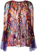 Roberto Cavalli abstract print sheer blouse