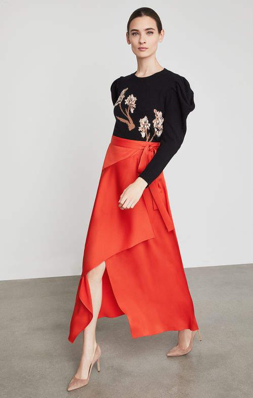Asymmetrical Satin Maxi Wrap Skirt