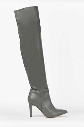 Wallis Grey Knee High Heeled Boot