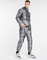 The Ragged Priest two-piece taffeta track pant in silver