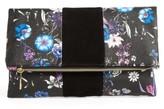 BP Tonal Floral Print Foldover Clutch - Black