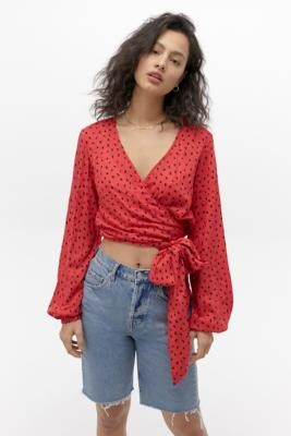 Billabong Wrapped In Blouse - Red XS at Urban Outfitters
