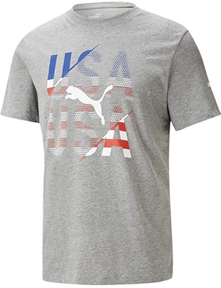 Puma Fan Tee USA (Medium Gray Heather USD) Men's Clothing