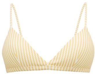 ASCENO Striped Triangle Cup Bikini Top - Yellow White