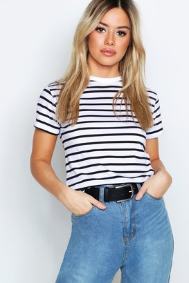 boohoo Petite Stripe Raw Hem Cropped T-Shirt