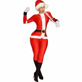 AMhomely Women's Novelty Christmas Long Sleeve Top Christmas Hat Santa Claus Jumpsuit Womens Baggy Dungarees Long Playsuit Plus Size Pants/Dress Rompers UK Size 6-26