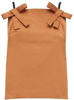 No.21 No. 21 - Bow-strap Duchess-satin Top - Womens - Light Brown