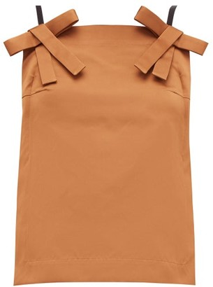 No.21 No. 21 - Bow-strap Duchess-satin Top - Womens - Light Brown