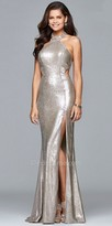 Faviana Fully Sequined Cut Out Back Prom Dress