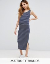 Isabella Oliver Sleeveless Striped Ribbed Midi Dress