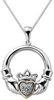 Lord & Taylor Diamond Accented Claddagh Pendant in Sterling Silver with 14K Yellow Gold