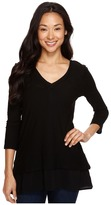 TWO by Vince Camuto - Double Layer Mixed Media V-Neck Top Women's Blouse