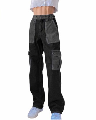 FeMereina Women Patchwork Print Baggy Jeans High Waist Wide Leg Denim Pants Bell Bottom Y2K Black Straight Trousers with Big Pockets (Grey S)