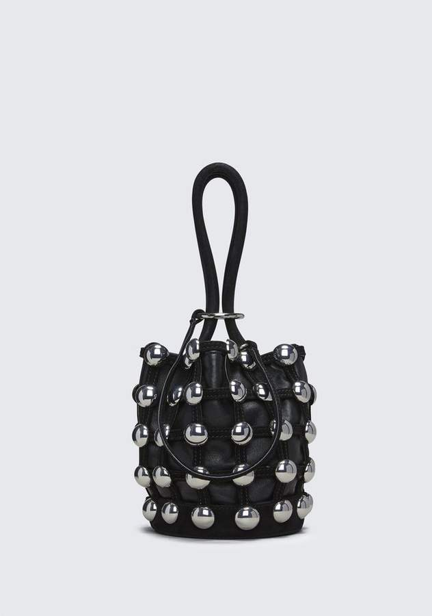 Alexander Wang DOME STUD ROXY MINI BUCKET IN BLACK SUEDE CLUTCH