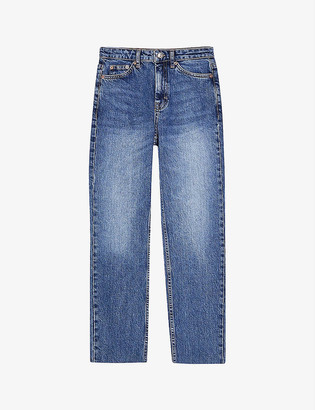 Topshop Considered raw-hem straight high-rise jeans