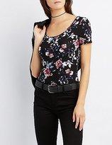 Charlotte Russe Floral Scoop Neck Bodysuit