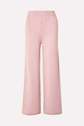 Mansur Gavriel Alpaca And Silk-blend Wide-leg Pants - Pink