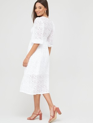 River Island Broderie Anglaise Midi Smock Dress - White