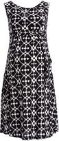 Glam Black & White Geometric Tie-Waist Maternity Dress