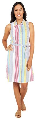Tommy Hilfiger Adaptive Providence Striped Tie Waist Sleeveless Dress w/ Hidden Magnetic Closure (Bright White/Multi) Women's Dress