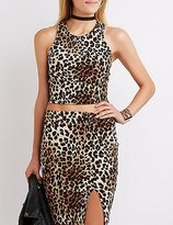 Charlotte Russe Leopard Caged Crop Top
