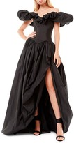 Thumbnail for your product : ZUHAIR MURAD Off-The-Shoulder Ruffle Taffeta Slit Gown