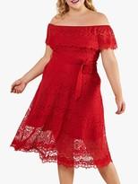 Bardot Yumi Curves Tie Belt Floral Lace Midi Dress