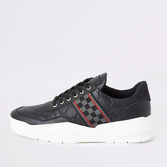 River Island Black check tape chunky runner trainers