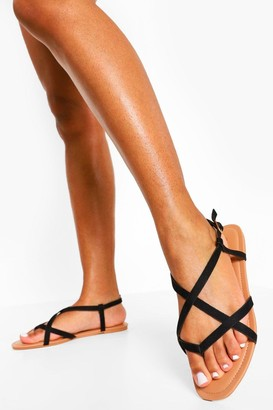 boohoo Wide Fit Toe Post Basic Strappy Sandal