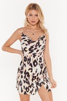 Nasty Gal Womens On The Cowl Leopard Mini Dress - White - 4, White