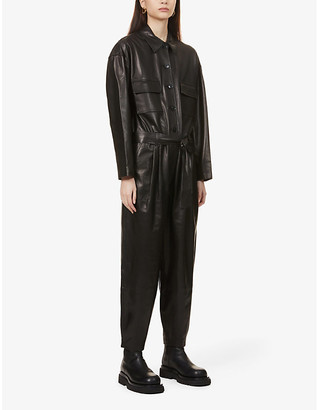 Frame Relaxed-fit leather jumpsuit