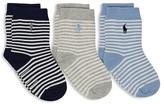 Ralph Lauren Boys' Striped Socks, 3 Pack - Baby
