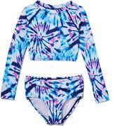 Kanu Surf Girls' Bikini Bottoms Denim - Denim Tie-Dye Camille Long-Sleeve Crop Rashguard Set - Toddler & Girls