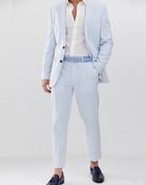 Asos Design DESIGN slim crop suit pants in cotton seersucker with blue and white stripe