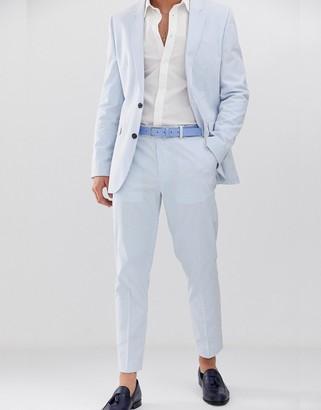 Asos DESIGN slim crop suit pants in cotton seersucker with blue and white stripe