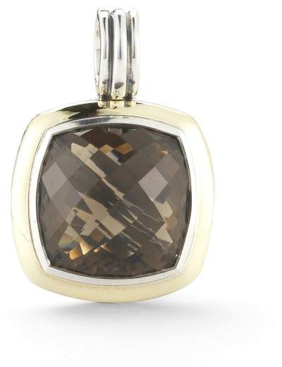 David Yurman Sterling Silver and 18K Yellow Gold 17mm Smoky Quartz Enhancer