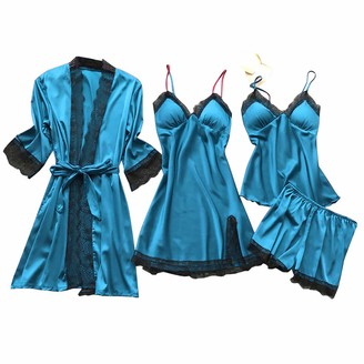 KPILP Nightdresses Loungewear Set Lightweight Dressing Gown Ladies Trim Sexy Casual Pyjamas 4 PCS Set Lace Soft Lingerie Sets Sleepwear Womens Dressing Nightgown Nightshirts(Light Blue 3XL)