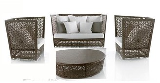 Panama Jack Maldives 4 Piece Rattan Sunbrella Sofa Seating Group with Cushions Outdoor Cushion Color: Canvas Regatta