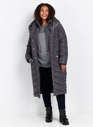 Evans Grey Long Padded Coat