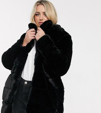 Simply Be faux fur black coat