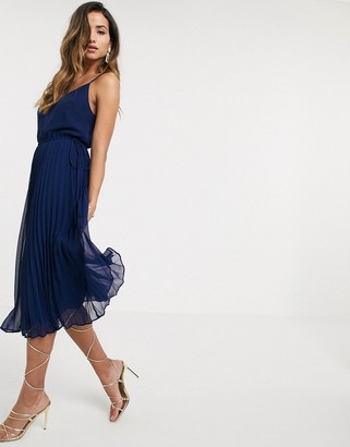 Asos Design DESIGN pleated cami midi dress with drawstring waist in navy