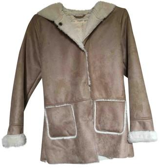MANGO Beige Suede Coat for Women