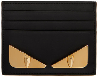Fendi Black and Gold Bag Bugs Card Holder