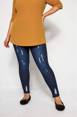 Womens Yours Cat Scratch Jeggings - Blue
